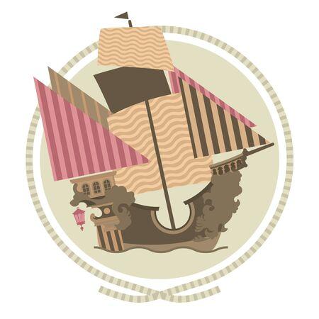 tall ship: Decorative Sailing ship, emblems in circle, flat illustration