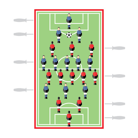 table top: Table Football, table top game, soccer, flat illustration Illustration