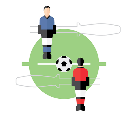 Table Football, table top game, soccer, flat illustration Illustration