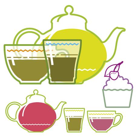 green tea cup: Green tea cup, teapot, glass, flat illustration, set Illustration