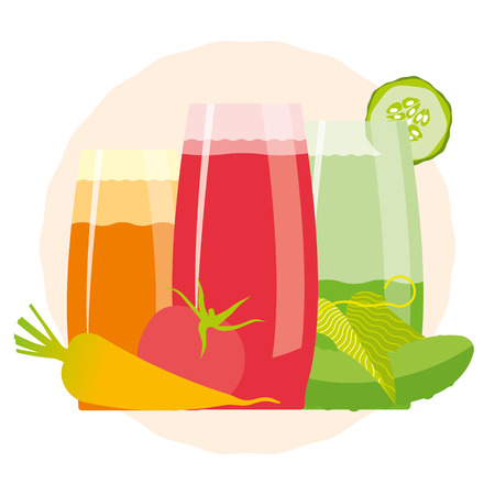 detox: Detox cocktail with cucumber, tomato and carrot. Fresh smoothies for healthy life, diets.