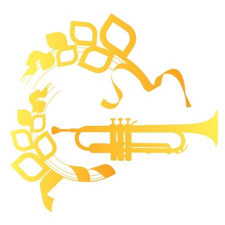 cornet: Trumpet icon isolated with ornament for logo. Golden trumpet. Wind musical instrument