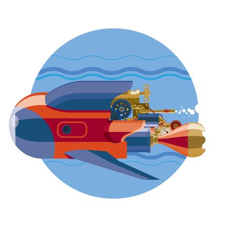 Submarine. Steam-punk retro future submarine underwater Illustration