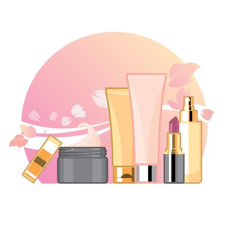 fascinação: Conjunto de creme e tônica para o cuidado de pele e rosto, modelo de anúncios, maquete para anúncios ou revista