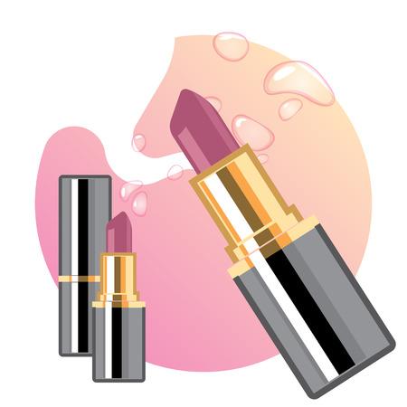 fascinação: Anúncios de batons glamouros, batom elegante para maquiagem, textura rosa no fundo Ilustração