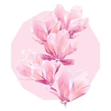 Kristall Rosa Orchidee, Vieleck Blumen, schöne Blumen Hintergrund für Anzeigen