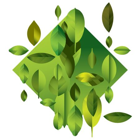 crocket: abstract full color modern background with leaves, green geometric illustration Illustration