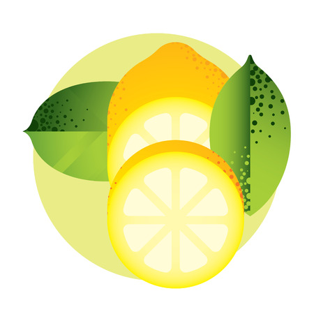 pulp: whole and halved yellow lemon with green leaves, cut citrus, fruit