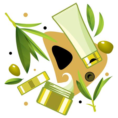 fascinação: Creme e tónico para o cuidado com o azeite, o modelo de anúncios, mockup para anúncios ou revista