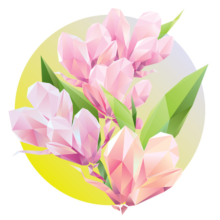 Crystal Pink flowers with Polygon green leaves, beautiful floral background for ads