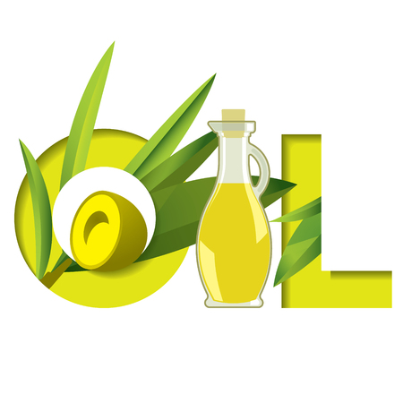 humidify: Green typeface word oil with olive branch and glass bottle for ads Illustration