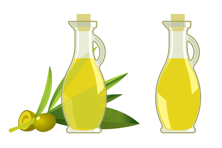 Green olive branch and glass bottle with oil for ads