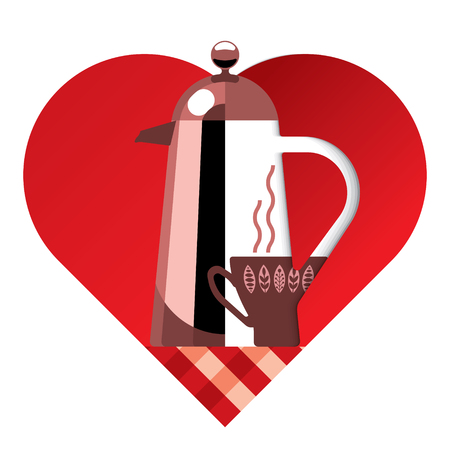 red iron coffee pot and coffee cup on red heart background for ads or menu, i like coffee
