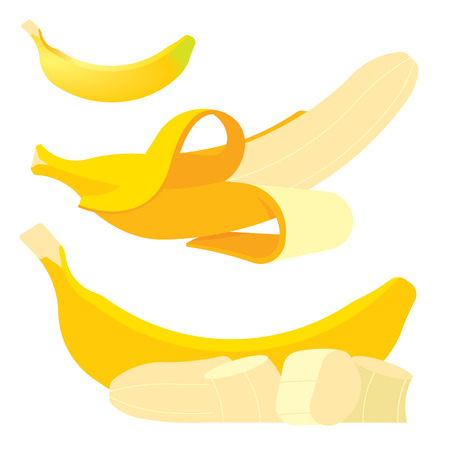 set of Fresh yellow bananas, isolated whole and cut, flat illustration