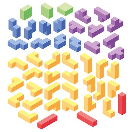 set of color tetris blocks, isometric illustration