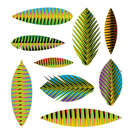 crocket: Set abstract tropical leaves with bright geometric patterns Illustration