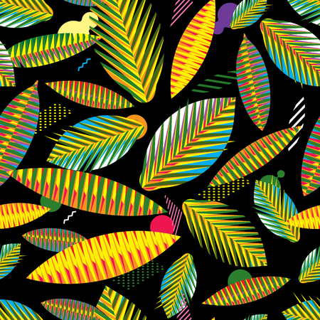 crocket: Colorful seamless pattern, abstract geometric tropical leaves on black background