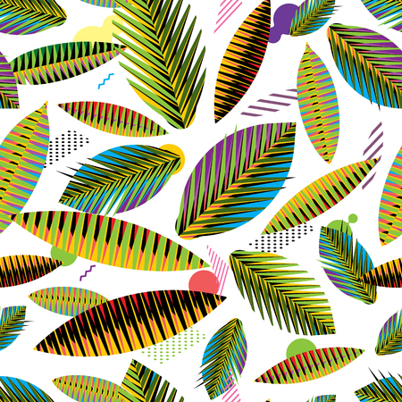 crocket: Bright seamless pattern, abstract geometric tropical leaves on white background