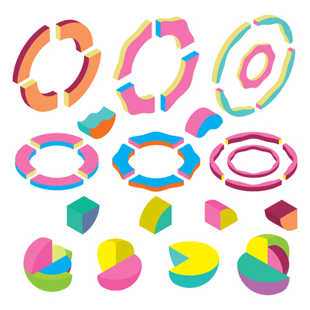 impression: blocks isometric rings, sphere and segments, Color Design elements in the Memphis style Illustration