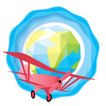 clouds: Paper art rocket flying out from the earth, startup business and travel concept Illustration