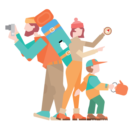Family father, mother and child go on a hike, flat illustration Illustration
