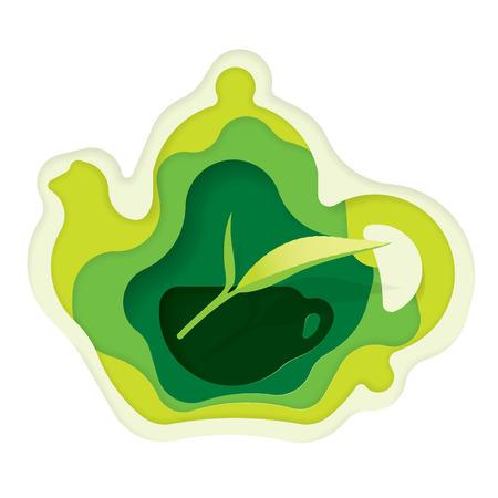 Teapot, teacup and leaf of tea, Paper art carved, vector art and illustration