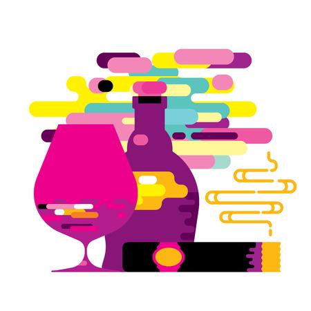 scotch: Modern style cognac bottle and glass