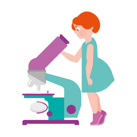 The girl is looking into a large microscope, scientific device, flat illustration Illustration