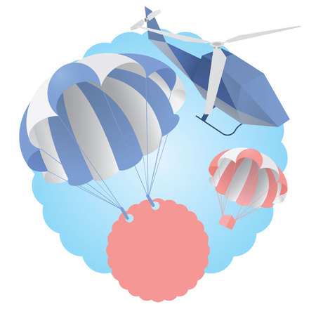 Blue and pearl parachute with boards, helicopter on background, biz concept illustration Illustration