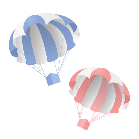 Blue and pearl parachute with box, concept illustration.