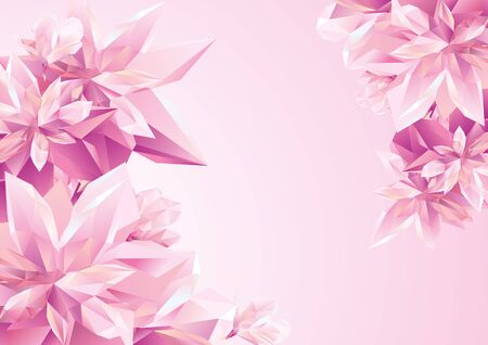 Template for congratulation postcard, Crystal Pink flowers, polygon flowers, beautiful floral background for ads