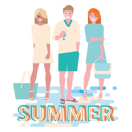 若い男とビーチウェアの夏のビーチでバカンス女  イラスト・ベクター素材