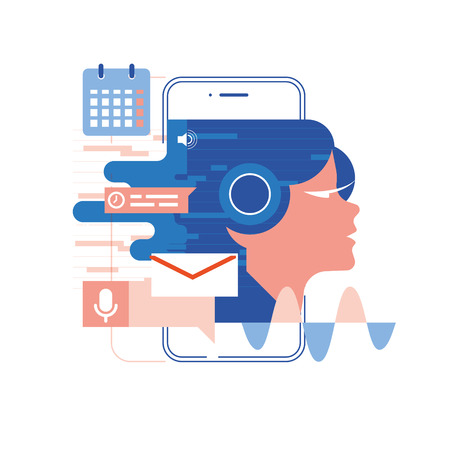 voice assistant, mobile app, personal assistant and voice recognition concept vector illustration of soundwave intelligent technologies. Communication