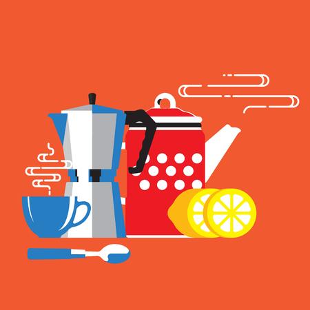 Coffee cup, coffee machine, lemon, coffee time Ilustrace