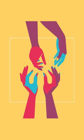 four hands, pop art style, contrast colors, flat illustration