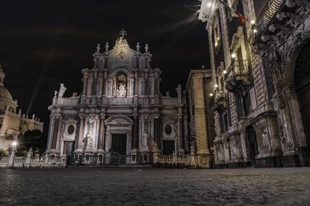 a nocturne: Catania (Sicily, Italy) dome church by night Stock Photo