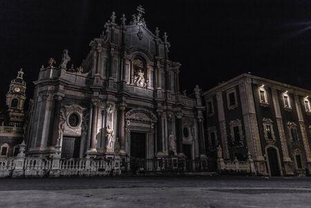 Catania (Sicily, Italy) dome church by night Stock Photo