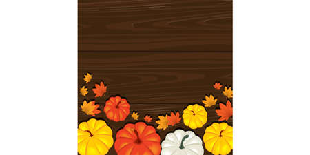 The celebration of thanksgiving. Traditional concept. Pumpkin and leaves on a dark tree background