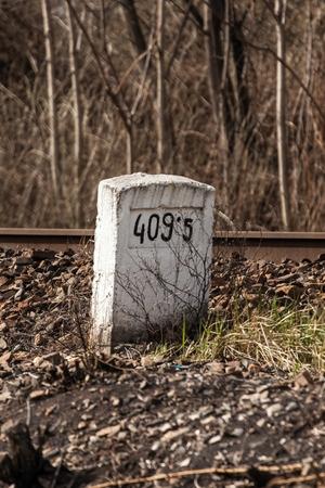 mileage: Mileage milestone indicating the distance to the railway line Stock Photo
