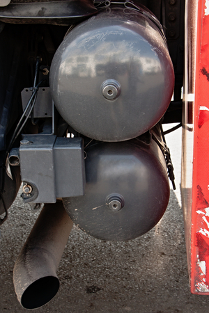 compressed air: gray steel containers for compressed air truck