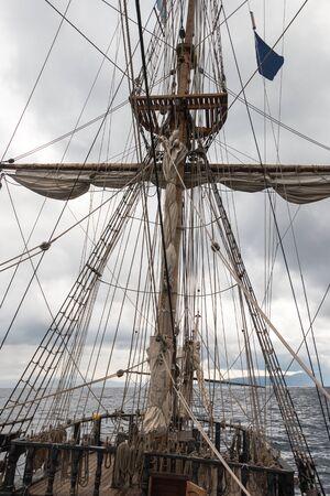 Set of ropes and sailing boat basket