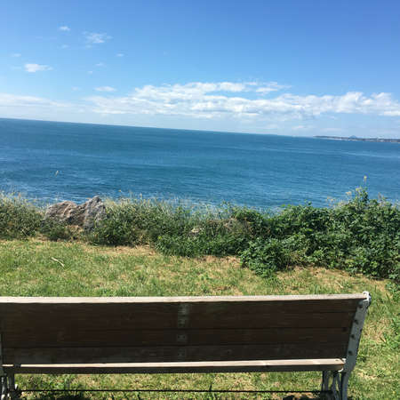 Bench in Jeju Island with Blue Sea