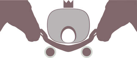 two heads: Symbol . Two heads of horse and carriage with crown Stock Photo