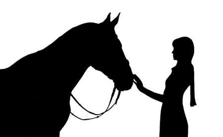 amistad: Silueta de la chica y el caballo en la munición