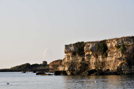 Picture of the sea in Fontane Bianche in early morning. 版權商用圖片