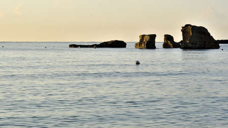 Picture of the sea in Fontane Bianche in early morning. Stockfoto