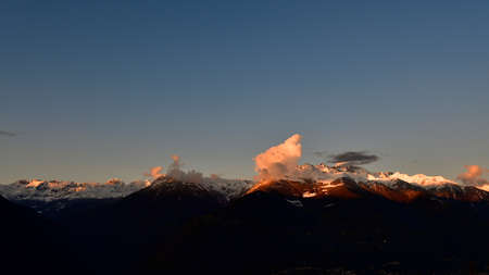 View of Valmalenco mountain range with the first snow.