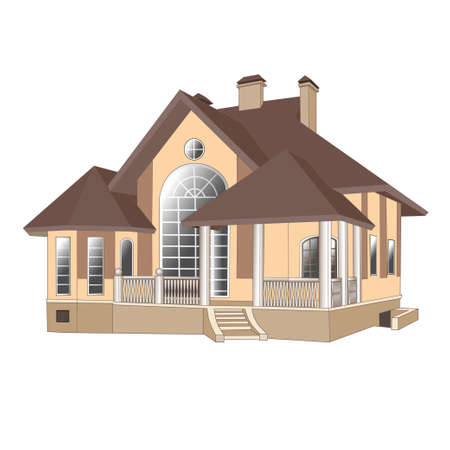 illustrations, buildings, vector, cottage, painting, house, structure Vector