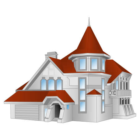 illustrations; buildings; vector; cottage; painting; house; structure Illustration