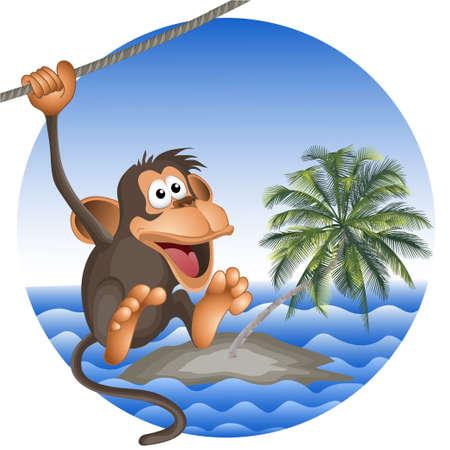 ridicolo: spiaggia tropicale con una palma e la scimmia ridicolo. vettore. gli oggetti isolati.